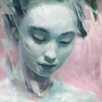 Green Geisha Glitch head detail  by JeromeBirti