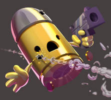 one face a day 176 Bullet Kin (enter the gungeon) by Dylean