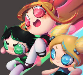 one face a day 196/365. The Powerpuff Girls by Dylean