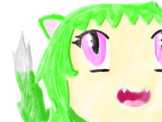 green cat girl by Piggyinawig