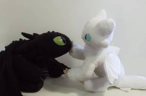 Baby Light Fury meeting a Night Fury by Tedimo