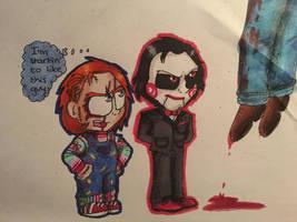 (Art trade) Chucky and Jigsaw 2 by Mika-Raccoon