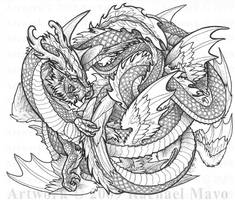 Dragon Dance 03 bw by rachaelm5