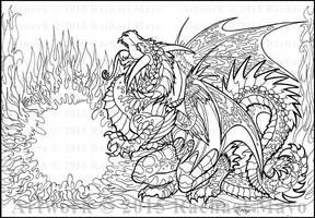 Black Sun Dragon lineart by rachaelm5