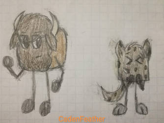 A serious Bison and a laughing Hyena by CadenFeather