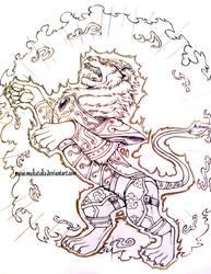 Armored Lion - by MAKATAKO