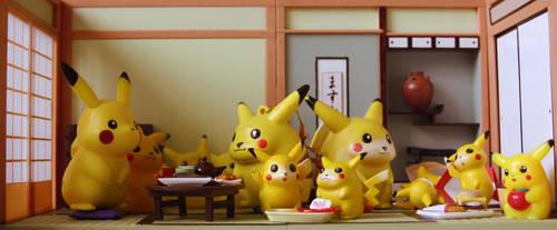 Pikachu Family's dinner by Pikila