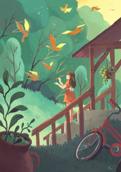 The girl and the birds by Pikila