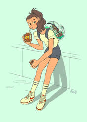Ice coffee latte by Pikila