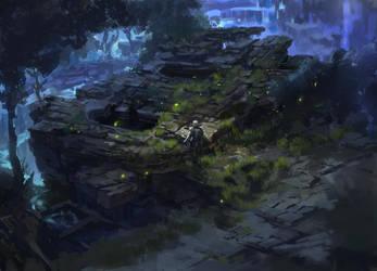 dark fantasy environment ruins 02 by onestepart