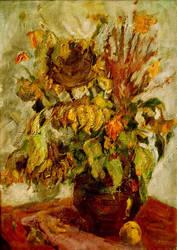 Still life with sunflowers by cezerenok