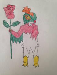 Hawlucha Holding Rose for Valentine's Art Exchange by missmikayla14