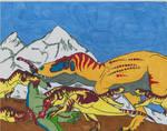 Tyrannosaurus Family by r-heinart