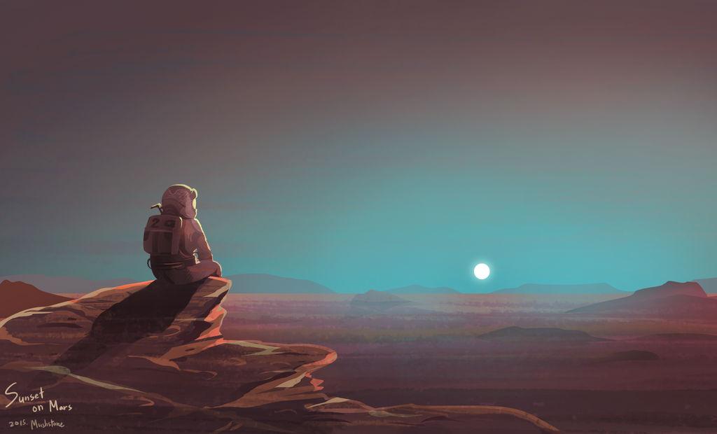 The Martian : Sunset on mars by Mushstone