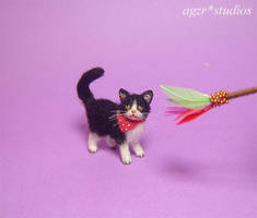 Ooak 1:12 Handmade Miniature Cat Kitten and toys by AGZR-STUDIOS