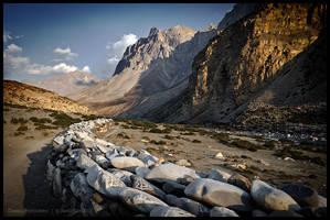Mani wall near Chharka Bhot by Dominion-Photography