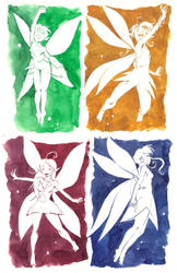 Watercolor Sketches 3- Faeries by MarcelPerez