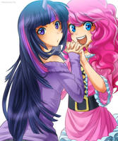 twilight and pinkie pie by RacoonKun
