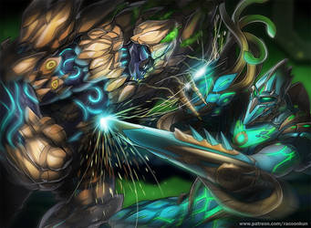 Runescape The Enduring vs The Warden by RacoonKun