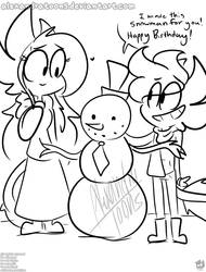 drawcember day 13: snowman and angelina's birthday by AlexandraToons