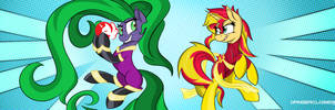 Maneiac and Solar Flare (Sunset Shimmer) by DangerCloseArt