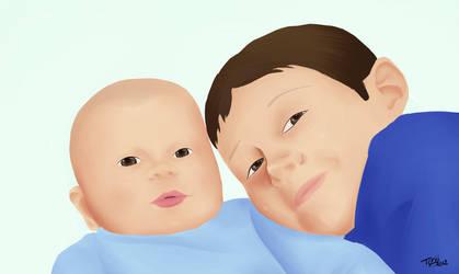 Dessin offert a Karine - 2 enfants by Tchiiweb