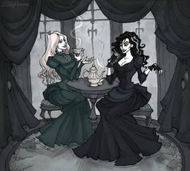 Bellatrix and Narcissa tea party by IrenHorrors