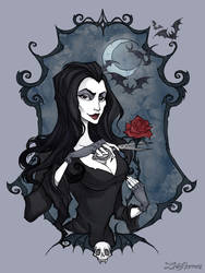 Morticia Portrait by IrenHorrors