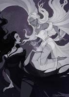 Nyx and Selene by IrenHorrors