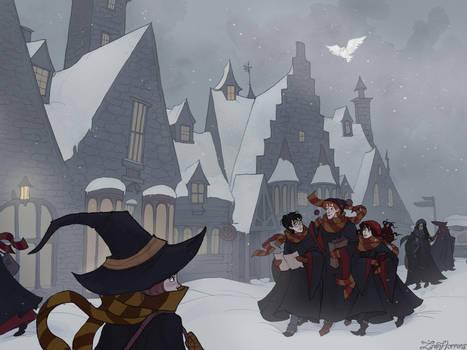 Snow Day in Hogsmeade by IrenHorrors