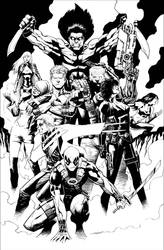 X-Force + Deadpool by butchmapa