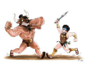 Theseus and the Minotaur - Gods of Olympus by LorenzoLivrieri