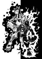 Anubis and Bastet by tiakaneko