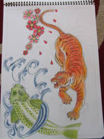 Tiger and Koi by IzzyTwig