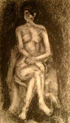 Seated Nude Reduction Drawing by rylothean