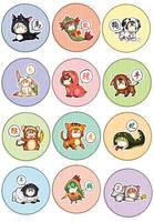 Chineze Zodiac Buttons by Nikufei