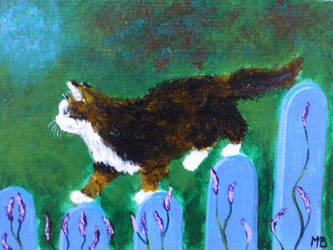 Cat on a garden fence ACEO by Actlikenaturedoes