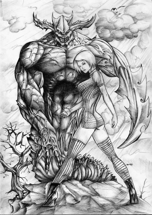 Demon adn girl by LordMiste