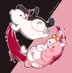 Monomi and Monokuma from Super  Danganronpa 2 by shimmykawaii