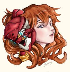 Asuka with a eva 02 Mask by shimmykawaii
