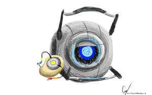 Scribble Art: PotatOS and Wheatley by Tanza-Night