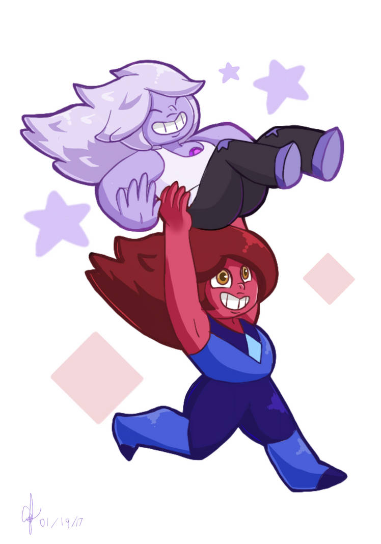 Amethyst and Carnelian (c) Rebecca Sugar (Steven Universe) Art (c) Green-Peridot
