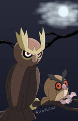 Noctowl and Hoothoot by BetaPunkDrawings