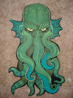 Cthulhu wood cut out by missmonster