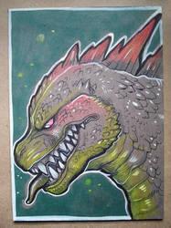 Godzilla ink drawing by missmonster
