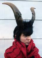 Goat horn headdress by missmonster