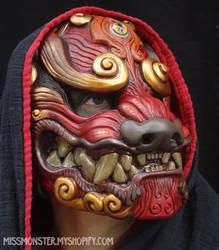 Red Komainu mask by missmonster
