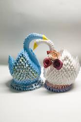 Swan Love - 3D Origami by ileenda