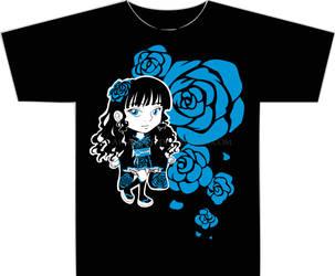 Blue Rose Walolita T-Shirt by AkiAmeko