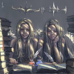 Twins by wlop